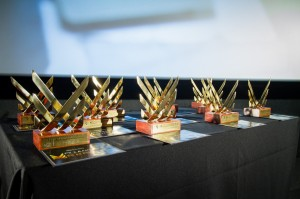 Troféus do FWFF 2015 entregues para as 11 categorias vencedoras.