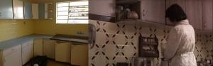 Aqui, um outro pedaço da cozinha, mostrando com mais detalhe a transformação dos azulejos, das paredes e armários, ainda que o ângulo não seja o mesmo.