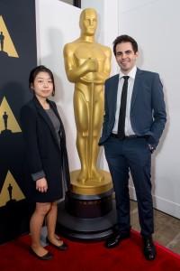 A estudante ChiHyun Lee, vencedora da Medalha de Prata e Daniel Drummond na 42º Oscar Estudantil