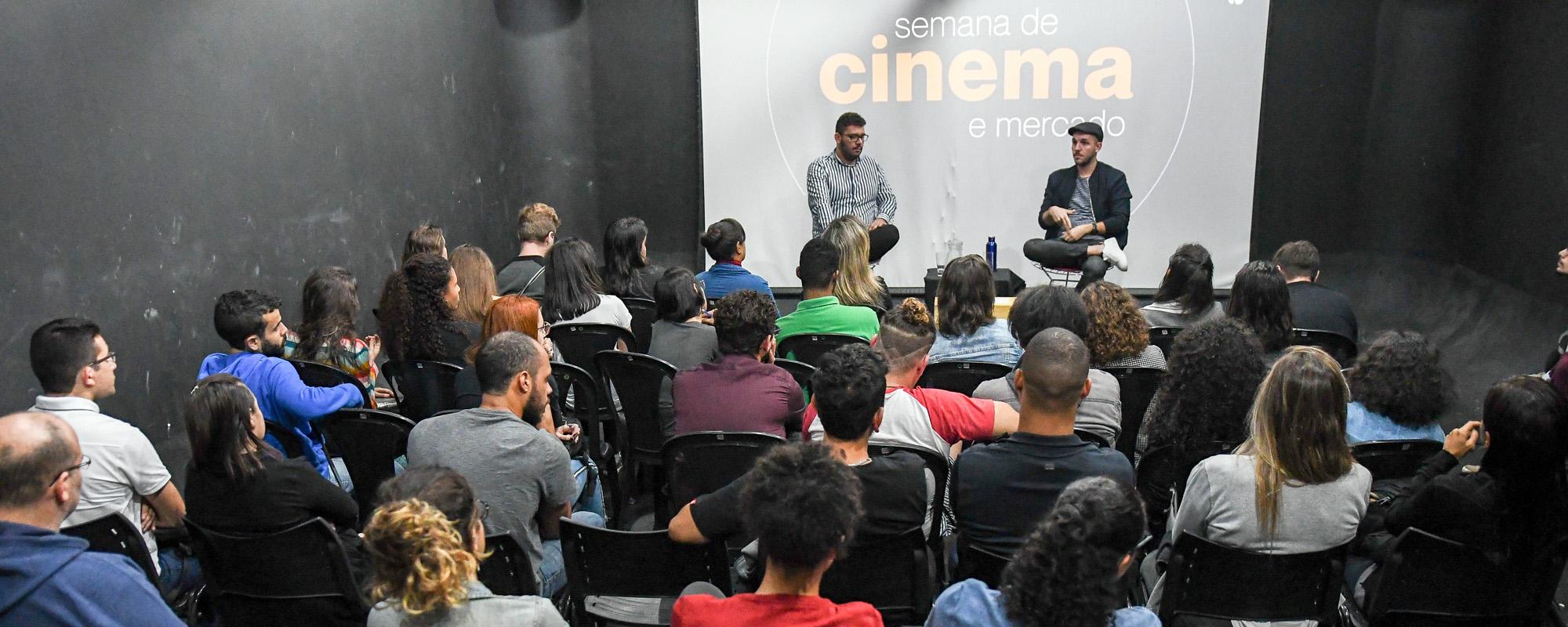 Carlos Eduardo Valinoti e Matheus Peçanha no primeiro dia da Semana de Cinema e Mercado do Rio de Janeiro